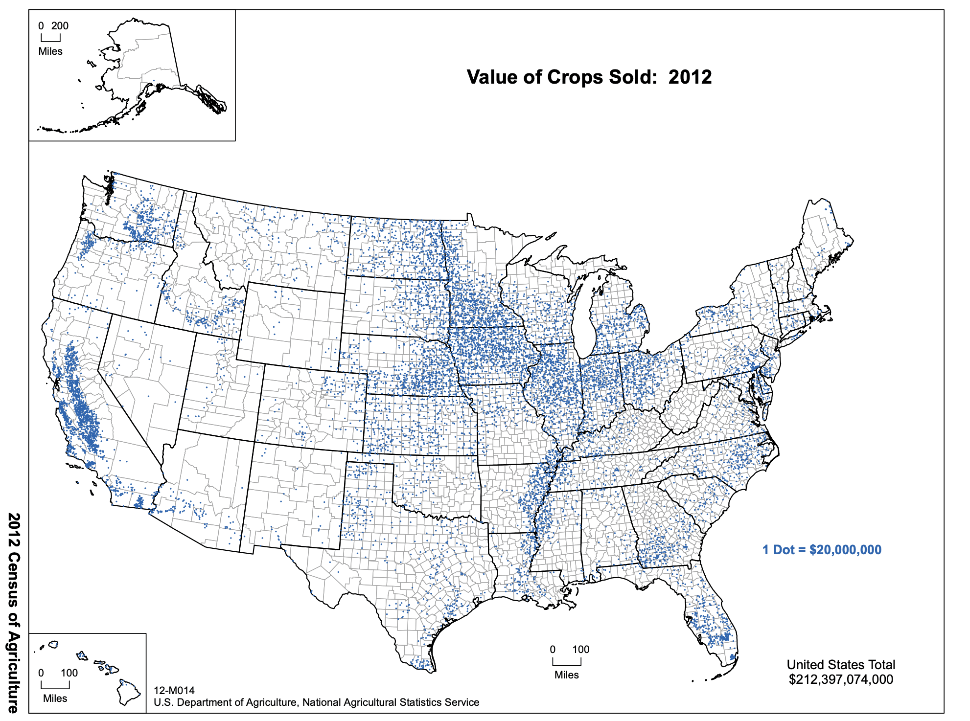 2012 Census of Agriculture, United States Total Value of Crops Sold: $212,397,074,000