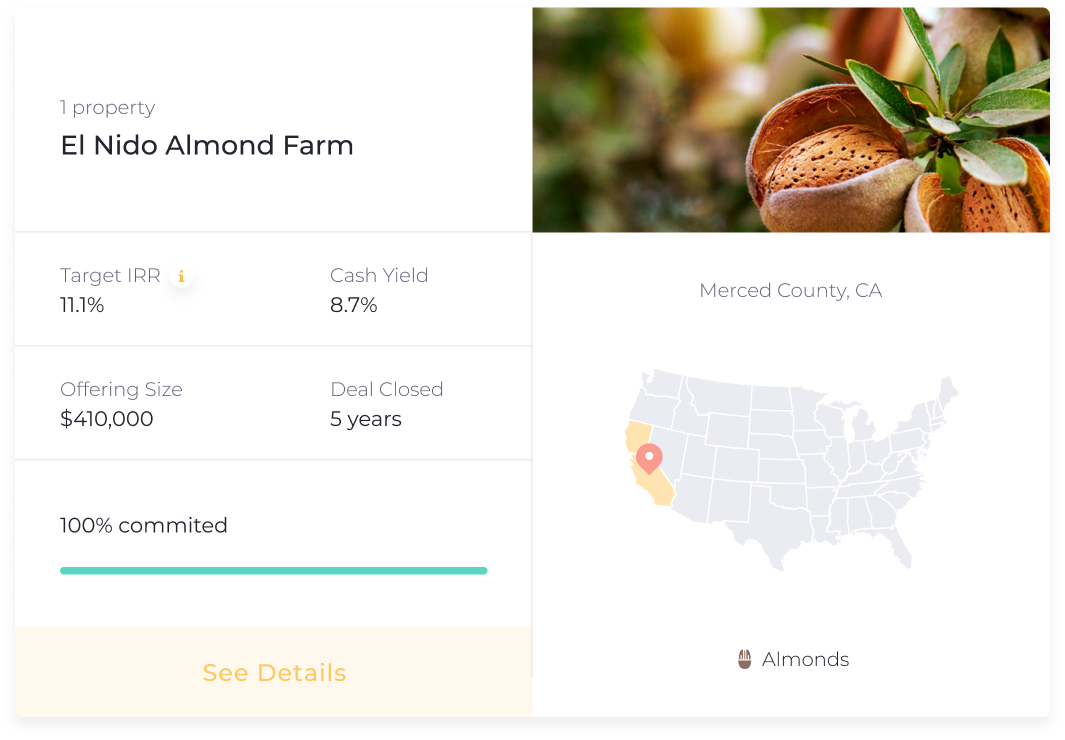El Nido Almond Farm (Merced County, CA) - had a target IRR of 11.1% and a target Cash Yield of 8.7%